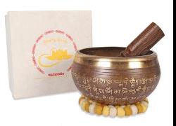 Große Tibetische Klangschale OM Handmade