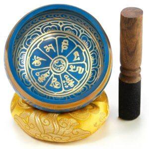 Klangschale blau mit Klangschalenkissen und Klöppel