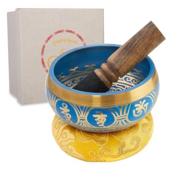 Klangschale blau mit Klöppel und Geschenkbox
