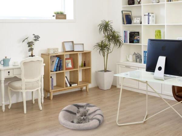 Katzenhöhle cremeweiß flach mit Katze im Zimmer